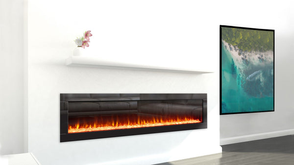 Ambe Linear 72 Electric Fireplace installed in living room side view