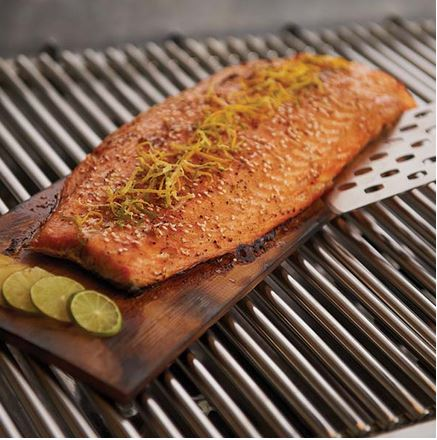 Broil King Cedar Grilling Planks cooking salmon