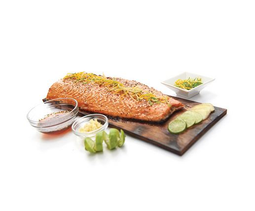 Broil King Cedar Grilling Planks cooking salmon and herbs