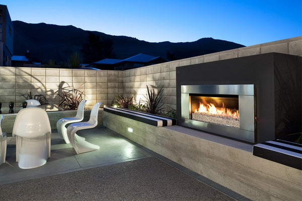 Escea EF5000 Outdoor Gas Fireplace installed in outdoor area