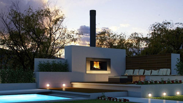 Escea EW5000 Outdoor Cooking Wood Fire installed in outdoor area