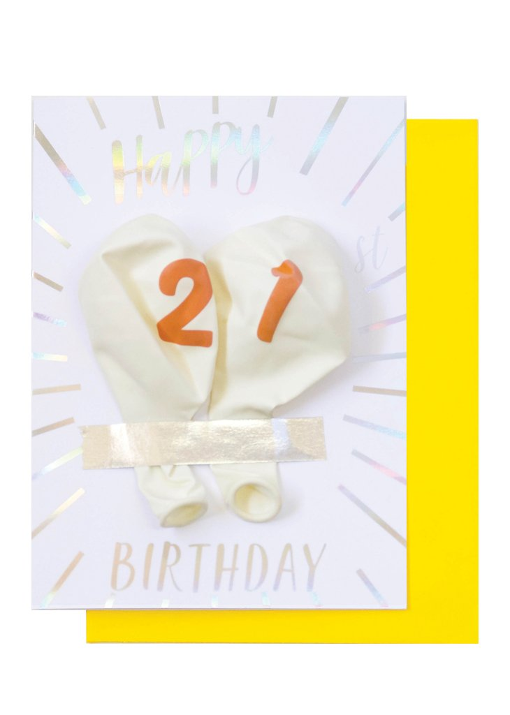 MILESTONE BIRTHDAY BALLOON CARD - 21ST BIRTHDAY - Bracket