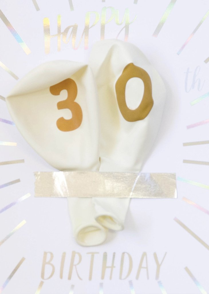MILESTONE BIRTHDAY BALLOON CARD - 30TH BIRTHDAY - Bracket