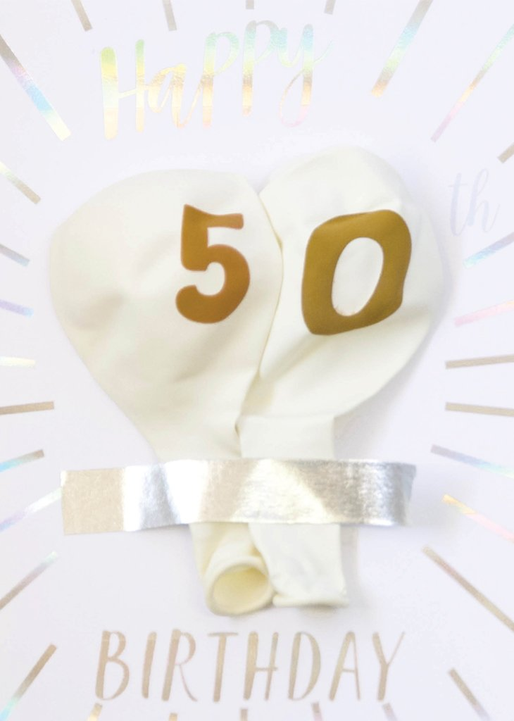 MILESTONE BIRTHDAY BALLOON CARD - 50TH BIRTHDAY - Bracket