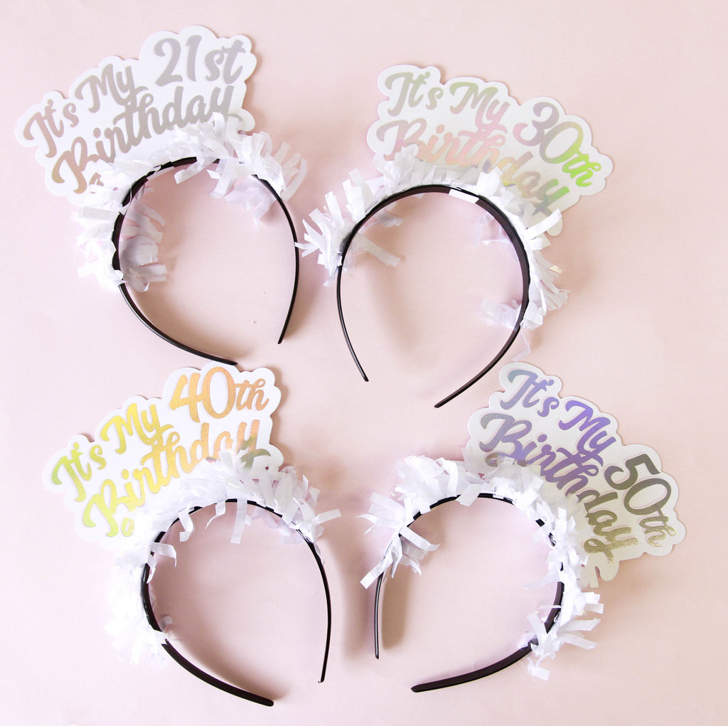 PARTY UP TOP MILESTONE HEADBAND: SINGLE 'IT'S MY 50TH BIRTHDAY' - Bracket