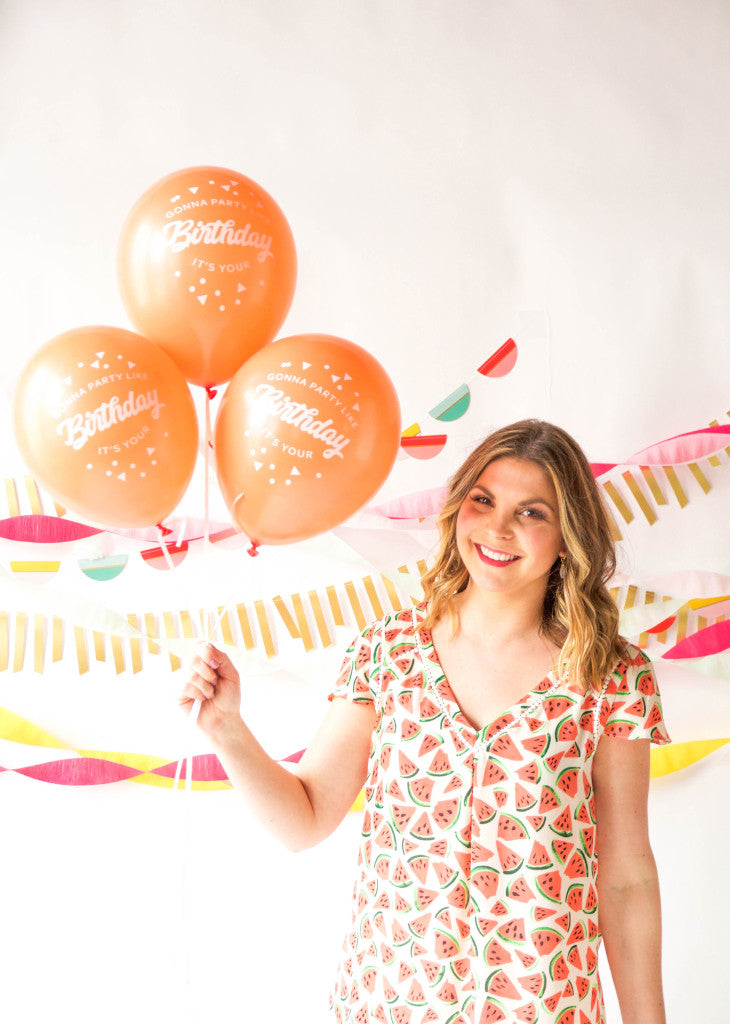 PARTY BALLOONS - Party Like It's Your Birthday - Coral - Bracket