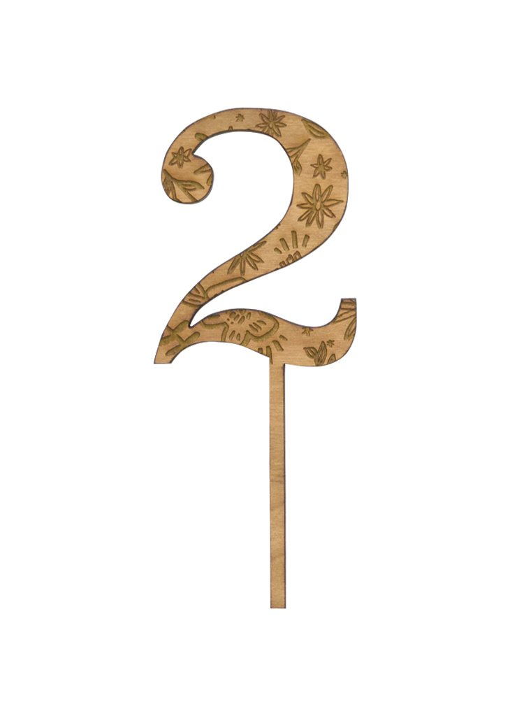 FLORAL WOODEN NUMBERS - CAKE TOPPER - Bracket