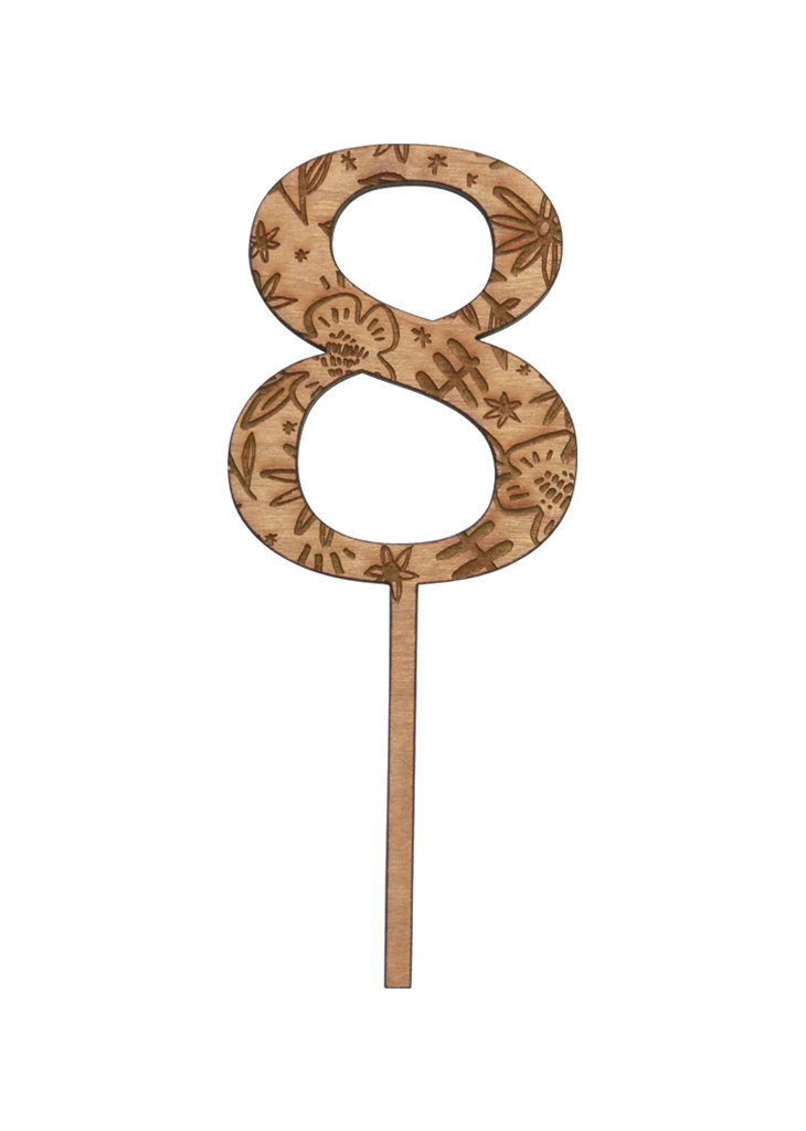 FLORAL WOODEN NUMBER CAKE TOPPERS - Bracket