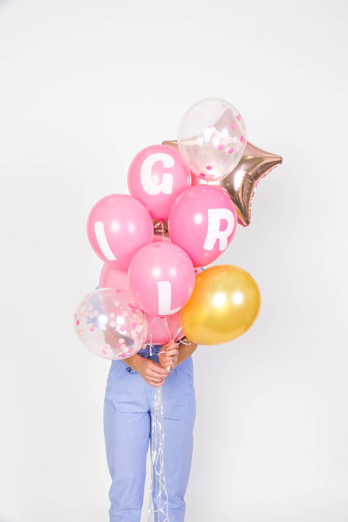 PARTY BALLOON BUNDLES - BABY GIRL BALLOON PACK - Bracket