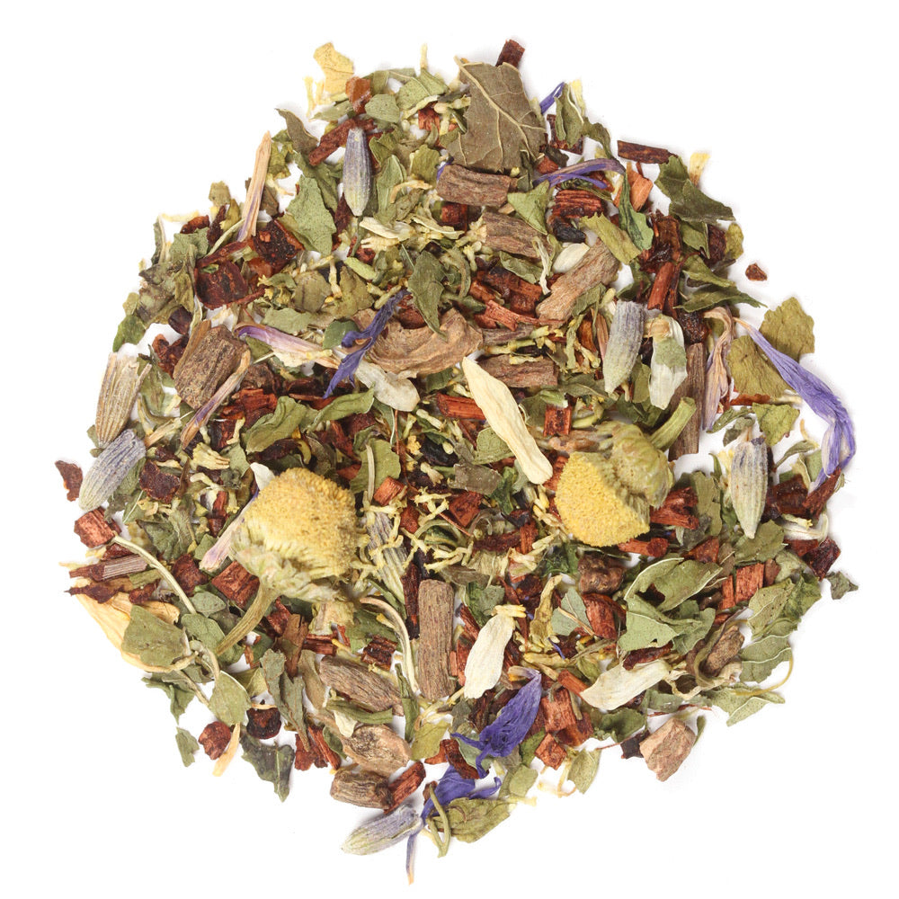 Steep Luv Sleepy Time Wellness Tea- Valerian Root, Honeybush Tea, Chamomile Flowers, Spearmint Leaves, Passion Flowers, Lemon Balm, Lavender, Cherries & Blue Cornflowers