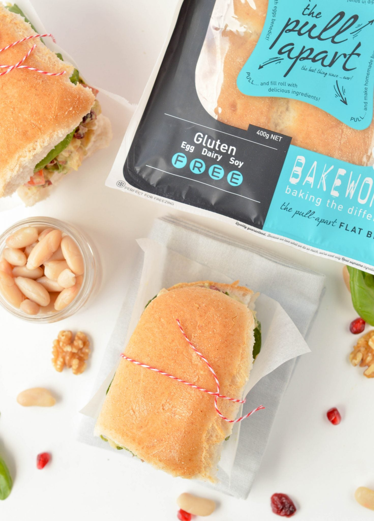Pullapart White Bean Sandwich with Basil, Cranberries & Walnuts - created by Carine at Sweetashoney
