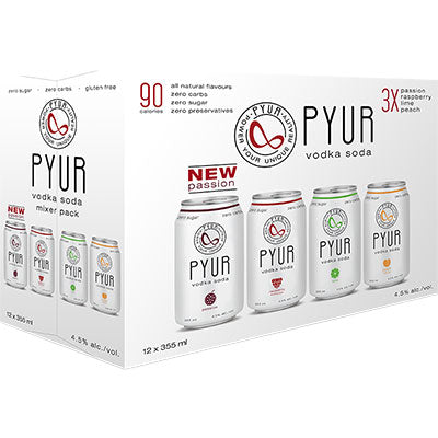 PYUR - VODKA SODA MIXER PACK CAN | 12 x 355 ml