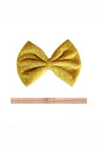 Mustard Dotted Hair Bow Set