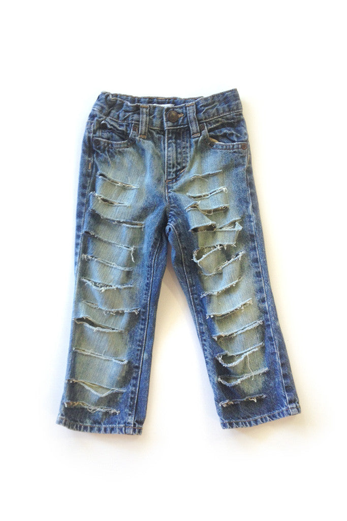 Extra Distressed Dark Denim