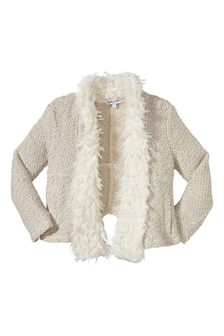 Knit Fur Open Jacket