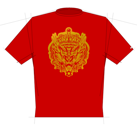 Halie Selassie - Red with gold print