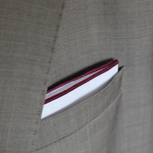 Load image into Gallery viewer, White Pocket Square with Burgundy Border