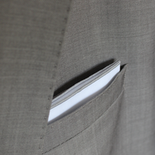 Load image into Gallery viewer, White Pocket Square with Gray Border