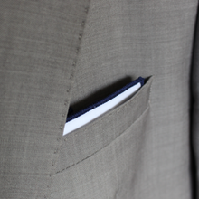 Load image into Gallery viewer, White Pocket Square with Navy Border