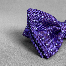 Load image into Gallery viewer, Purple Polka Dot Bow Tie