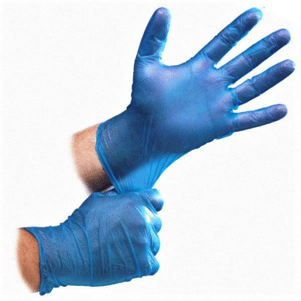 Blue Disposable Vinyl Gloves - Powdered (Pack of 100pcs)