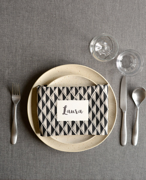 Black Diamond Linen Napkins - Cotton & Flax