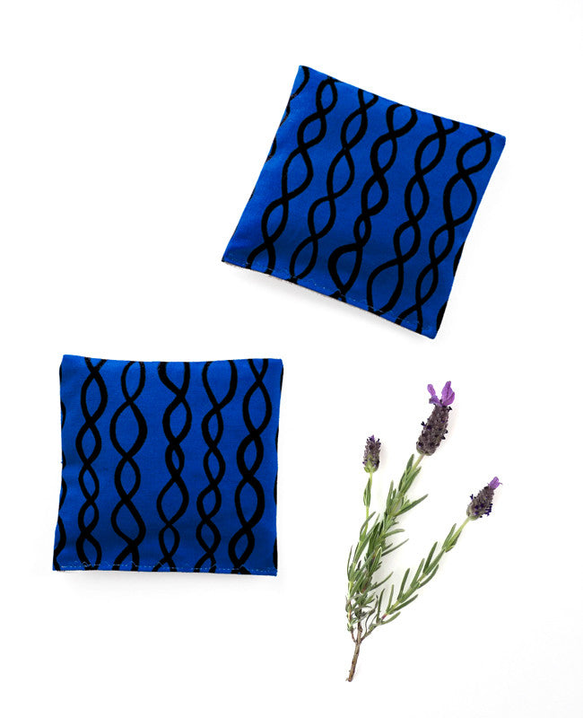 Lavender sachets - made with cobalt blue patterned fabric