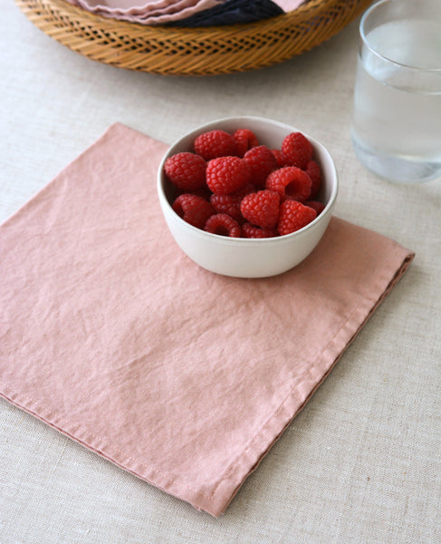 Blush Pink Linen Napkins - Made in California by Cotton & Flax