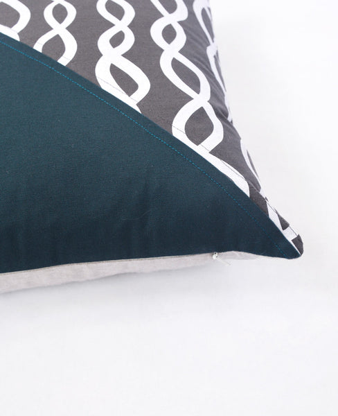 Grey and Spruce Patchwork Pillow - DNA pattern