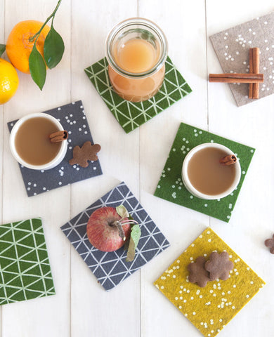 Colorful patterned coasters - Cotton & Flax