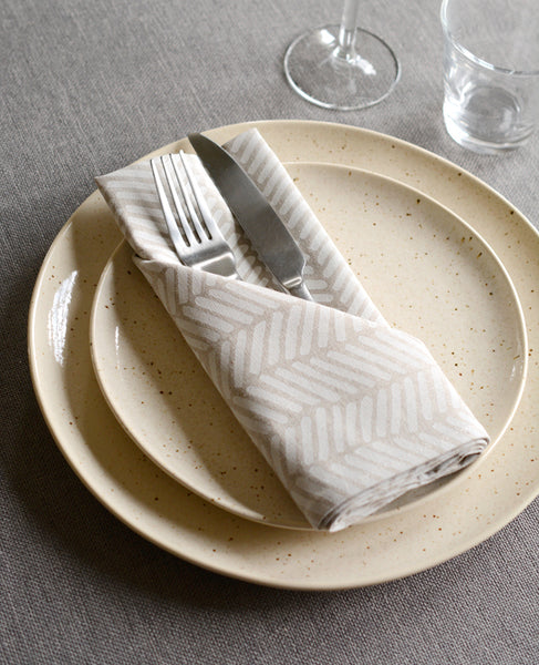 Linen dinner napkins from Cotton & Flax - Herringbone pattern