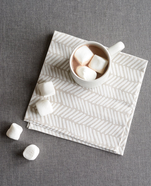 Cloth napkins from Cotton & Flax - herringbone pattern in linen