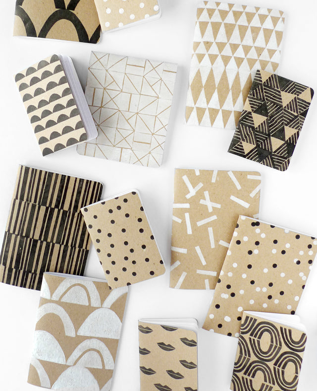 Block printing class - learn to print your own patterns on notebooks