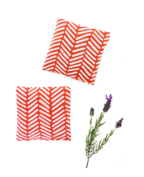 Lavender sachets - made with Poppy red chevron patterned fabric