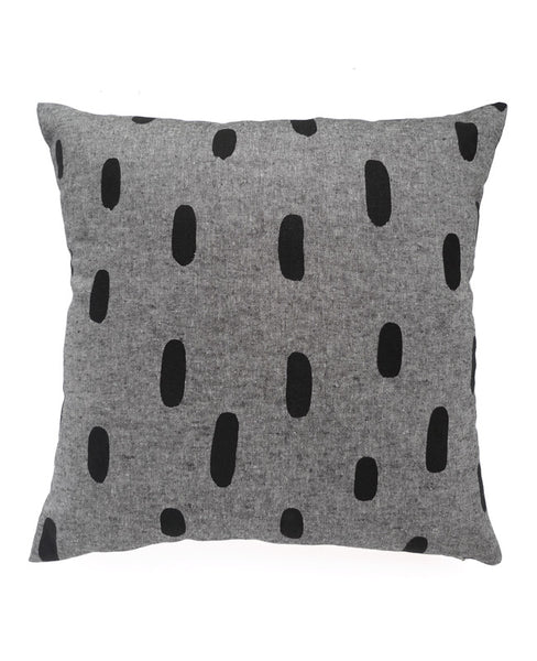 Black Chambray Brushstroke Pillow