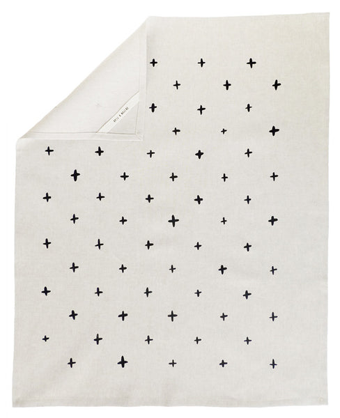 Black plus patterned tea towel - Cotton & Flax