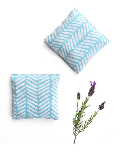 Lavender sachets - made with bright teal blue patterned fabric