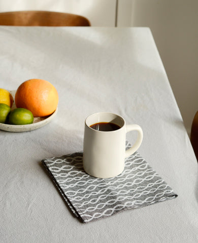Patterned chambray linen napkin - Cotton & Flax