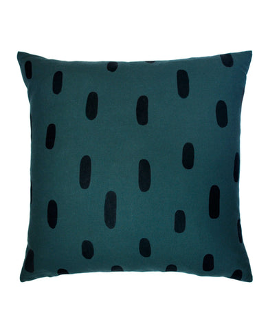 Dark teal pillow - brushstroke pattern