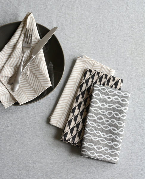 Patterned linen dinner napkins from Cotton & Flax