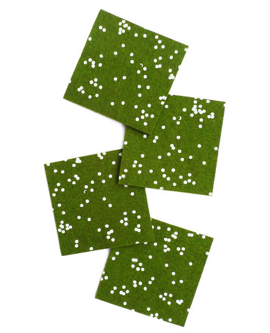 Forest green confetti coasters - Cotton & Flax