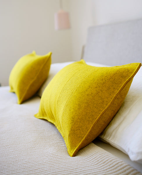 Wool felt lumbar pillow edges - made by Cotton & Flax