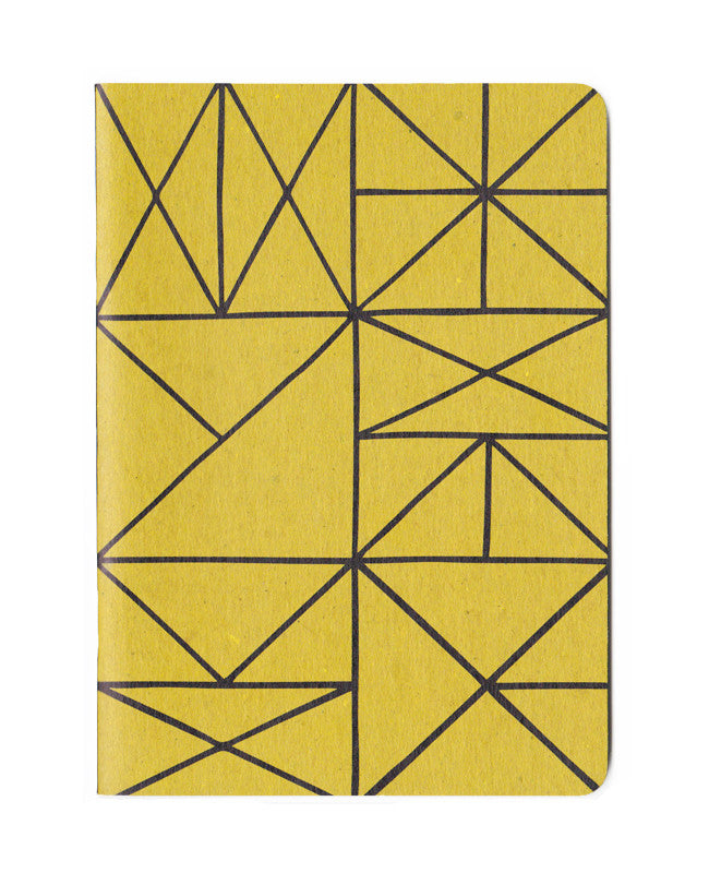 Gold Grid Patterned Notebook - 5x7in. recycled notebook