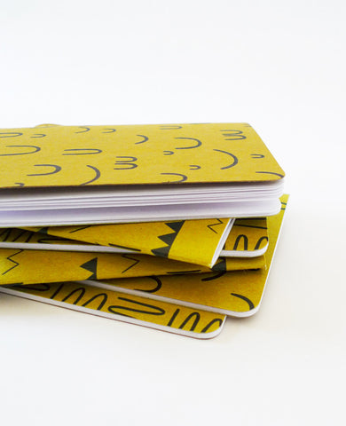 Pile of Gold Ochre Notebooks — Cotton & Flax