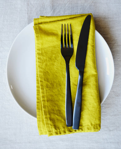 Linen napkins in goldenrod yellow - made by Cotton & Flax
