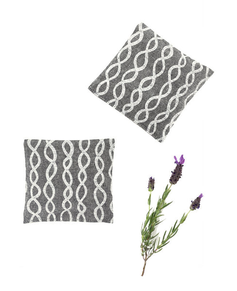 Lavender sachets - made with grey chambray patterned fabric