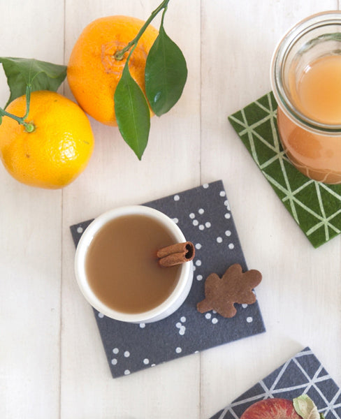 Patterned felt coasters with citrus fruit
