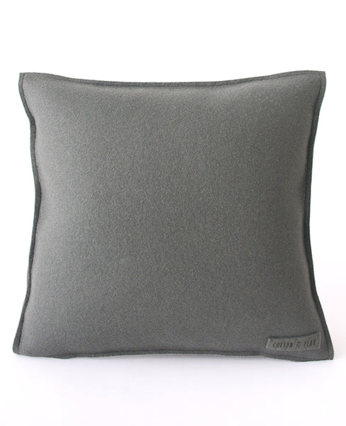 Back of grey wool felt pillow