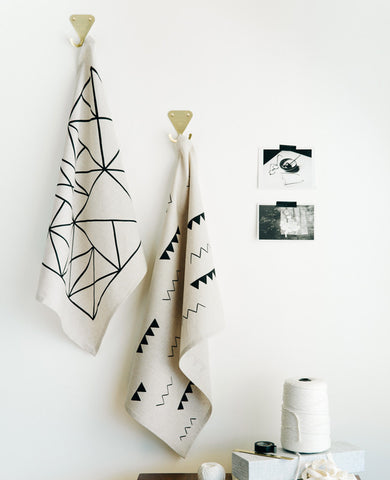 Patterned Linen Tea Towels - Cotton & Flax