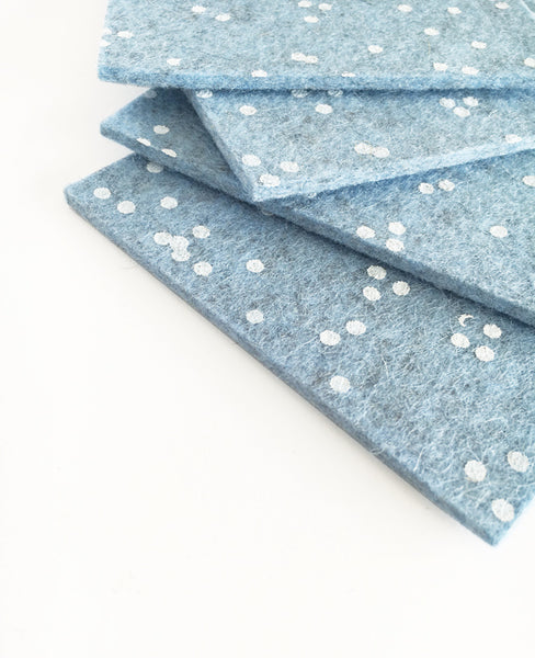 Ice blue wool felt coasters side detail - Cotton & Flax